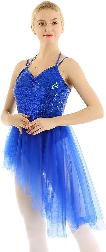 Girls Contemporary Lyrical Dance Dress Sequined Gymnastics Skating Show Costume