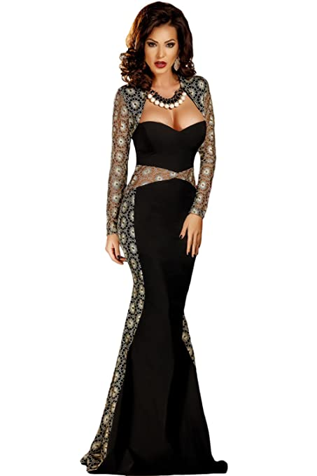 Elegant Ladies Long Black & Gold Embroidered Lace Evening Cocktail Prom Dress Party Dance Club Wear