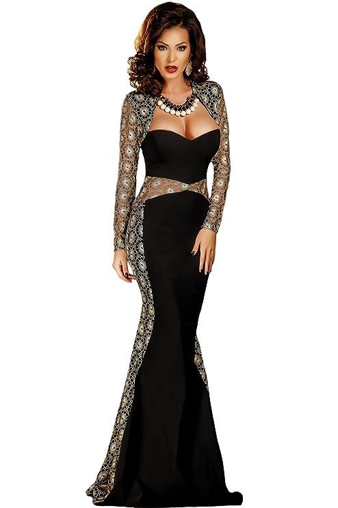 55f1190b4b09 Elegante lungo da donna nero e oro ricamato pizzo abito da sera