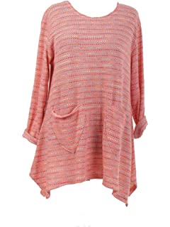 a2a10e2db45 LavishFashionTown New Italian Ladies Women Lagenlook Knitted Tunic Multi  Color Top Plus Size 16 18 20