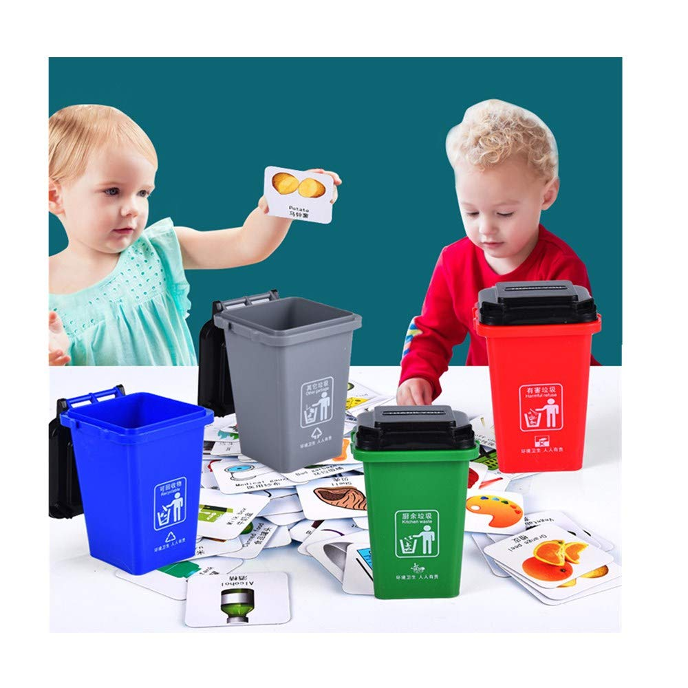 APPointed Children's Toys Kids Push Vehicles Mini Trash Cans Garbage Classification Learning Toys Card Board Game (Multicolor)