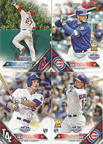 2016 Topps Opening Day MLB Baseball Series Complete Mint Hand Collated 200 Card Set with Rookie Cards and Stars Mike Trout Bryce Harper Plus