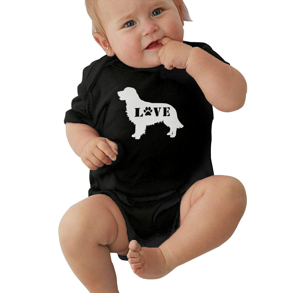 Fashion Golden Retriever Love Dog Paw-1 Playsuit Short Sleeve Cotton Rompers for Baby Girls Boys