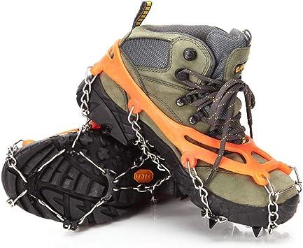 Ducomi - Crampones unisex para hielo y nieve con 8 dientes antideslizantes, tacos aptos para zapatos y botas, ideales en invierno para montaña, ...