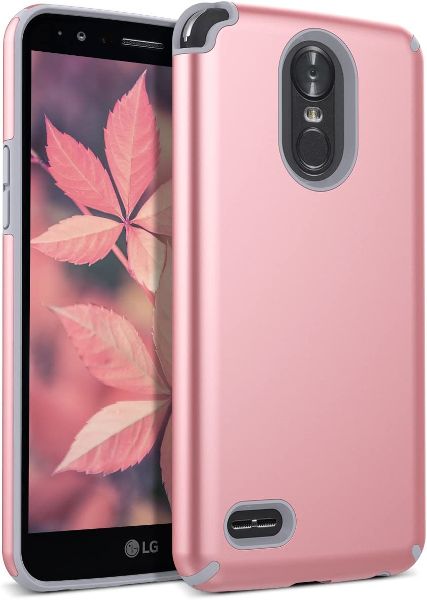 LG Stylo 3 Case, CinoCase LG Stylo 3 Plus Case Heavy Duty Armor Protective Case Hybrid TPU Bumper Shockproof Case with Brushed Metal Texture Hard PC Back for LG Stylo 3 / LG Stylo 3 Plus (Rose Gold)
