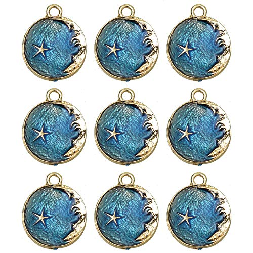 (Monrocco Blue 10pcs Round Enamel Moon Face Charms Pendants Crescent Charm)
