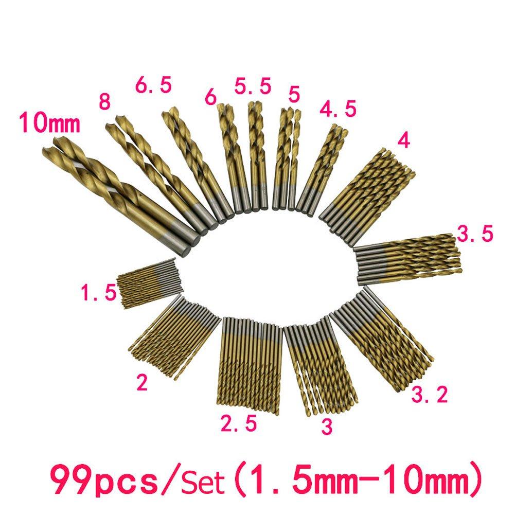 Enjoydeal 99 Pcs1.5mm -10mm Steel Titanium Twist Drill / Straight Shank Drill Bit