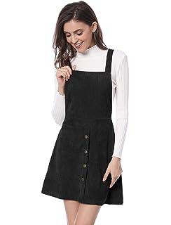 311f233e9da1 Allegra K Women's Straps Button Decor A-line Pinafore Corduroy Overall Dress