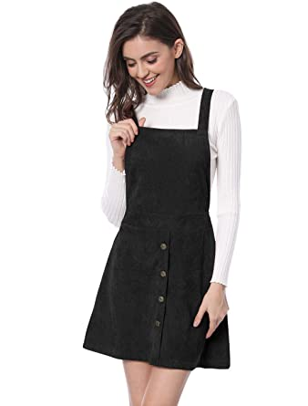 1eebd3b3372 Allegra K Women s Straps Button Decor A-line Pinafore Corduroy Overall Dress  Black XS (