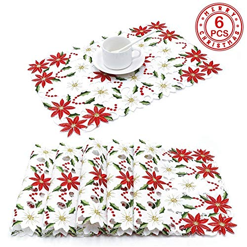PartyTalk 6pcs Embroidered Christmas Table Placemats, Red Poinsettia Placemats with Holly for Christmas Holiday Decorations, 11 x 17 Inch Christmas Table Mats