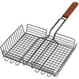 "Large BBQ Barbecue Adjustable Grilling Basket 10"" x 12"" for Fish, Meat and Vegetables!"