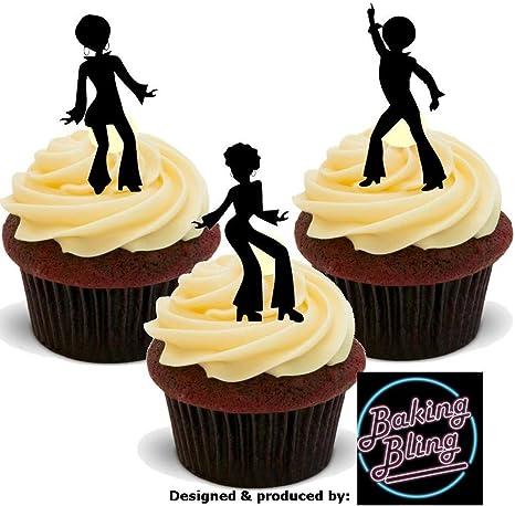 "Sheet of 15 Disco Dance Edible Icing Cupcake Toppers PRE-CUT 2/"""