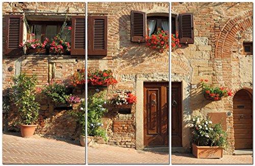 Canvas Wall Art Decor - 12x24 3 Piece Set (Total 24x36 inch)- European City Street - Decorative & Modern Multi Panel Split Canvas Prints for Dining & Living Room, Kitchen, Bedroom, Bathroom & Office (Italian Bedroom Decor)