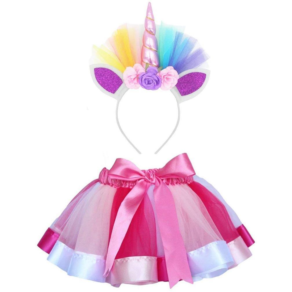 Little Girls Layered Ribbon Tutu Skirts with Unicorn Horn Headband Ballet Dress Litetao