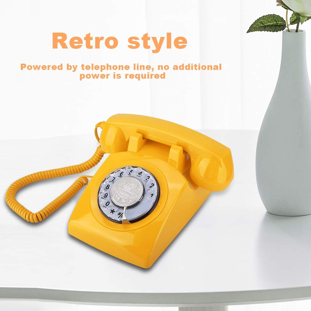 Corded Desktop Desk Phone for Gift with Knob//Adjustable Volume of The Bell Beiwnner Retro Dial Telephone Vintage Landline Telephone Corded Telephone Red