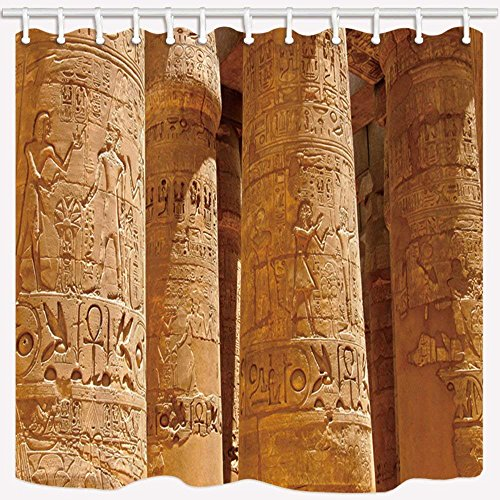 Ancient Page Dye - CdHBH Relic Decor Shower Curtain By Ancient Civilization Peristele Sculpture Art Farmhouse Bathroom Mildew Resistant Polyester Fabric Waterproof Shower Curtain Set With Hooks 71X71in