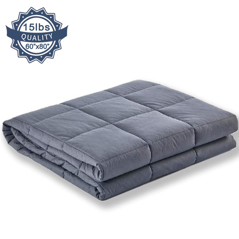 COCOBELA Weighted Blanket for Adult and Kids, 15 lbs 60x80, Breathable Cotton and Premium Glass Beads (Dark Grey) by COCOBELA