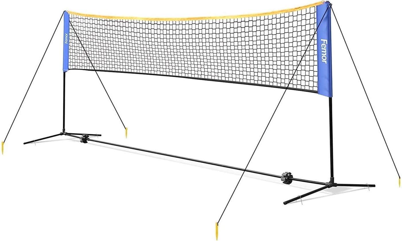 Femor Red de Tenis Bádminton Portátil Desplegable Ajustable, Red para Voleibol para el Interior o al Aire Libre, con Soporte y Bolsa, Altura Ajustable 107/120/155 cm, Fácil Instalación