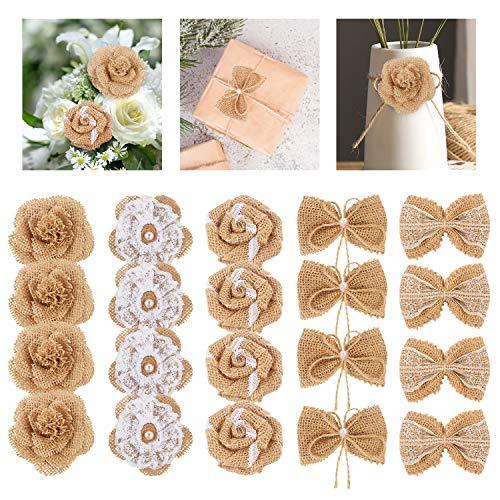 SS SHOVAN Burlap Flowers,20 PCS Rustic Burlap Rose Flowers Bow Knots for DIY Craft Bouquets Home Wedding Christmas Banquet Party Decoration