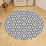 Gzhihine Custom round floor mat Arabesque Authentic Moroccan Islamic Old Motif with Oriental Effects Middle Eastern Print Bedroom Living Room Dorm Black White