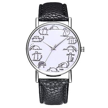 Relojes para Mujer,Winkey Ladies Temperament Wild Marca Relojes Moda Casual Simple Gato Reloj negro: Amazon.es: Hogar