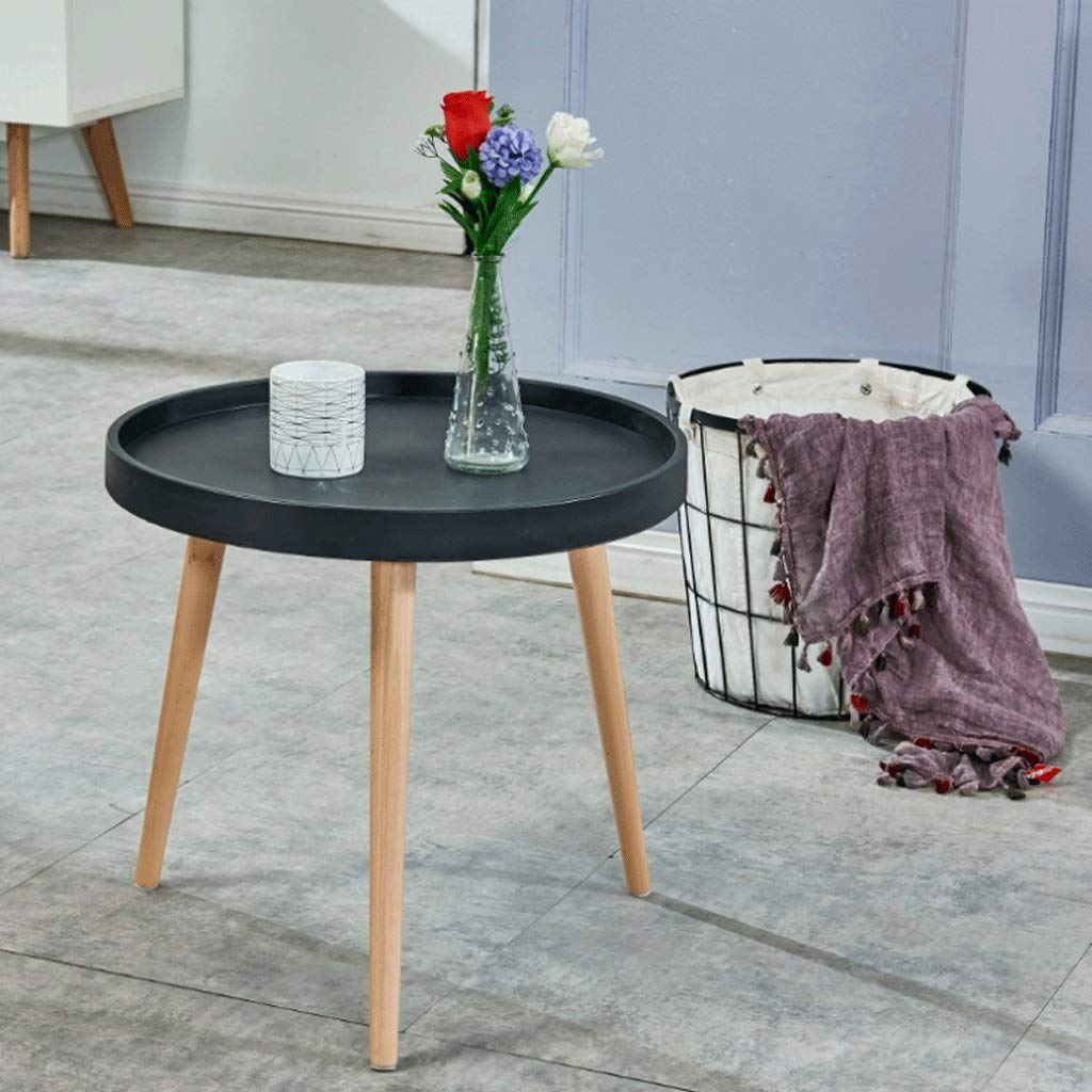 Round Table Coffee Table Children's Toy Table Living Room Side Table Low Bedroom Bedside, Work Table Solid Wood Multicolor (Color : Black) by Small table
