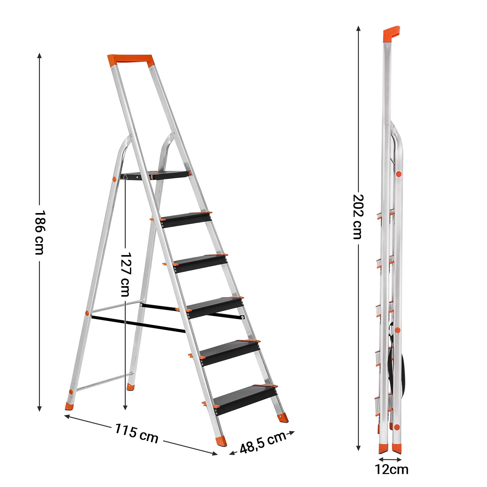Songmics Step Ladder 6 Steps Aluminium Ladder With 12 Cm Wide Steps Folding Ladder With Tool Tray And Anti Slip Feet Buy Online In Faroe Islands At Desertcart Productid 141100998 Cm to feet and inches conversion in batch. desertcart