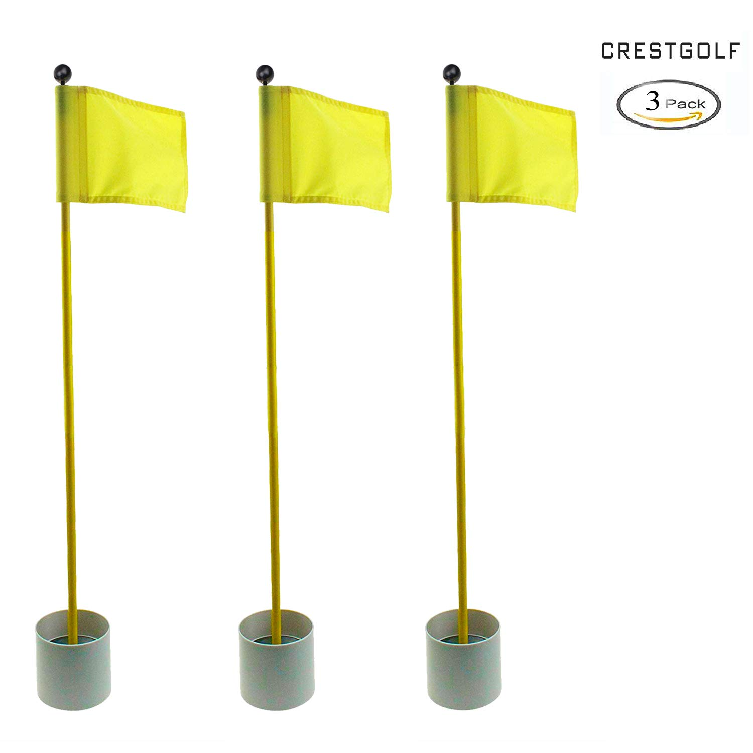 Crestgolf 3Sets Backyard Practice Golf Hole Pole Cup Flag Stick, 3 Section,Golf Putting Green Flagstick (yellow)