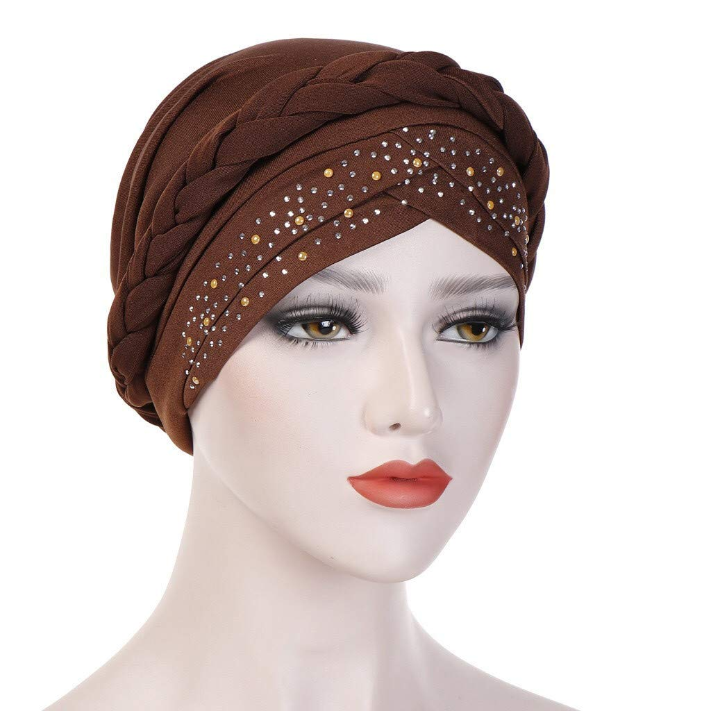 Women Muslim Frontal Cross Bonnet Hijab Turban Hat Chemo Cap Sequin Head Scarf Wrap Hat Coffee