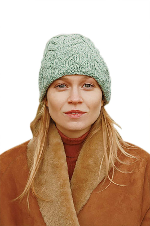 Supersoft Merino Wool Multi Cable Knit Hat (Sea Foam Green)
