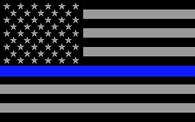 Blueline banderas Subdued Thin Vinilo reflectante de vinilo adhesivo decorativo, diseño de bandera de América, en nuestros hombres y mujeres de aplicación de la ley, 3 m), color negro, blanco y azul:
