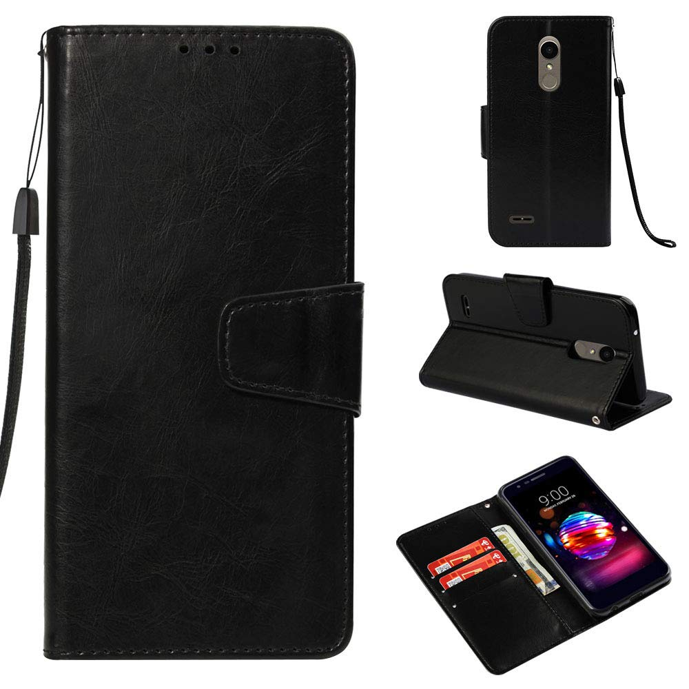 Voanice LG K30 Case Wallet,LG K10 2018 /LG Phoenix Plus/Harmony 2 /LG Premier Pro LTE Case, Luxury PU Leather Flip Phone Cover with Credit Card Slots Holder [Stand Feature] Protective Magnetic-Black