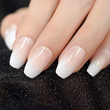 CoolNail Pink Nude White Ombre French Ballerina Coffin False Nails ...