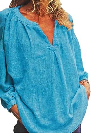 Blusa de Verano para Mujer, algodón Casual de Lino Tops Regulares Camisas de Manga Larga 6 Colores S-5XL: Amazon.es: Ropa y accesorios
