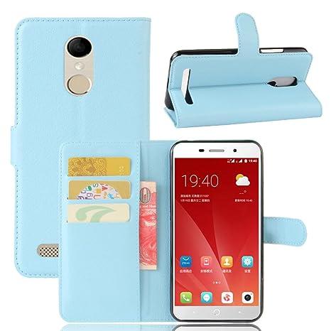 Guran® Funda de Cuero PU Para ZTE Blade A602 Smartphone Función de Soporte con Ranura para Tarjetas Flip Case Cover Caso-azul