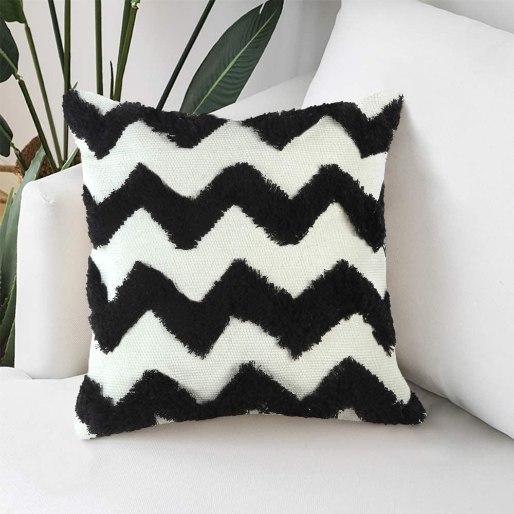 Ailsan Morocco Boho Tufted Decorative Pillow Cover 18X18 White Cotton Woven Throw Pillow Covers Soft Comfy Pillow Cases Modern Black Wave Tufted Cushion Case for Sofa Couch Living Room Bedroom