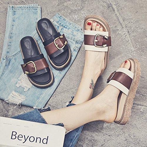 plataforma Flip zapatos de verano de con Negro Flip Flip Nueva Flop señoras SOHOEOS piscina Flop Flop señoras Señoras moda Outdoor de Señoras Plataforma wqpxIU
