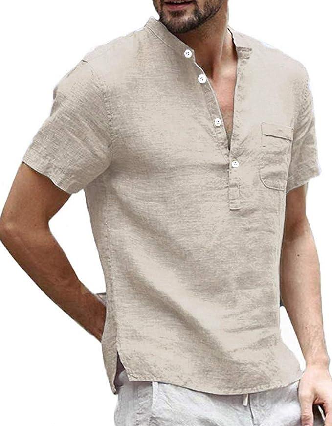 Mens Linen Henley Shirt Short Sleeve Banded Collar Casual Summer Beach  Lightweight Plain Tee Tops at Amazon Men's Clothing store