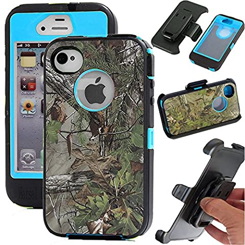 Harsel Shockproof Military Rugged Heavy Duty Armor Hybrid Bumper Protective Cover Case w/ Belt Clip Holster Built-in Screen Protector Camo Pink Tree/Grass/Leaves for iphone 4 4s (Forest Light (Pink Camo Otterbox Iphone 4s Case)