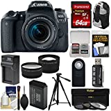 Canon EOS 77D Wi-Fi Digital SLR Camera & EF-S 18-55mm IS STM Lens + 64GB Card + Backpack + Battery & Charger + Filters + Remote + Tele/Wide Lens Kit