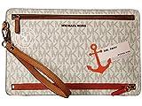 MICHAEL Michael Kors Illustrations Sl Away Large Travel Wristlet Vanilla/Acorn Wristlet Handbags