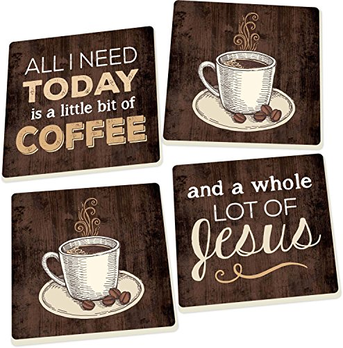 - Coffee and a Whole Lot of Jesus Dark Wood Look 4 Piece Square Ceramic Coaster Set