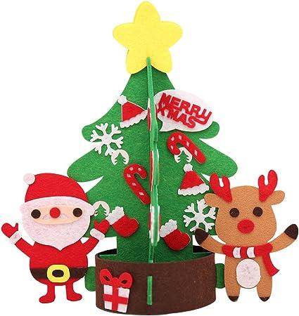 Etopfashion Decoración de Navidad Festival de los Niños Creativo DIY Árbol Pequeño Jardín de Infantes Verde Rojo Hecho A Mano Adornos de Tela para Niños Regalos de Navidad: Amazon.es: Hogar