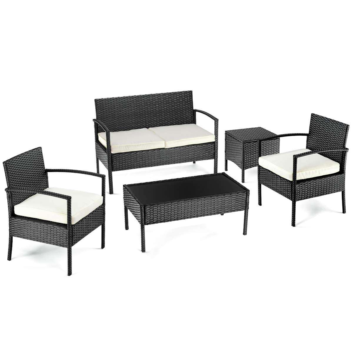 Pamapic 5 Pieces Outdoor Furniture Sets, All Weather PE Rattan Black Wicker Chair with Cushioned Seat and Two Coffee Table for Proch, Balcony, Patio, Backyard, Garden, 5 PCS
