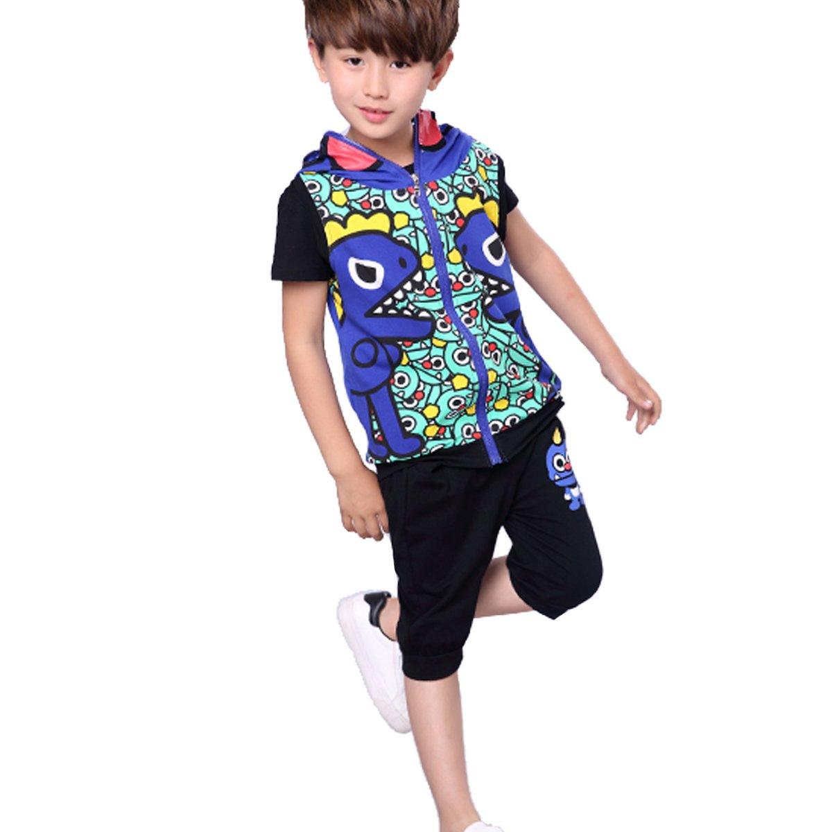 OnlyAngel Boys 3 Piece Outfits Zipper Vest Coat & Dinosaur Pattern T-Shirts & Elastic Pnats Set Size 4-12 Yrs (7-8 Years, Blue)