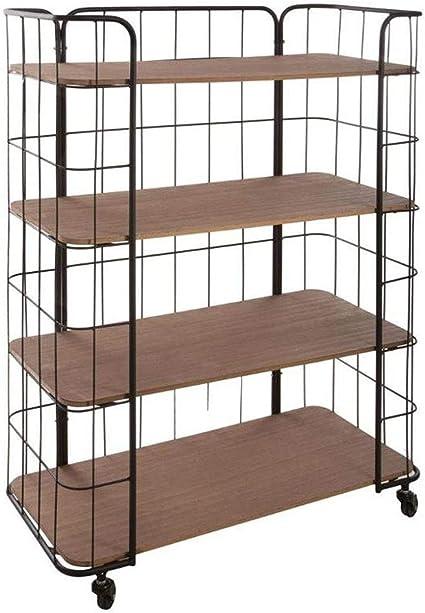 Estantería mueble de almacenaje 4 niveles sobre ruedas - estilo Mercado - Color Negro y Madera