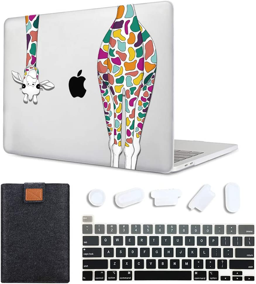 MAITTAO 4 in 1 Newest MacBook Pro 13 inch Case Model A2289 / A2251 (2020 Release), Plastic Hard Shell Case & Laptop Sleeve Bag & Keyboard Skin Cover for Mac Pro 13 Inch Touch Bar, Colorful Giraffe