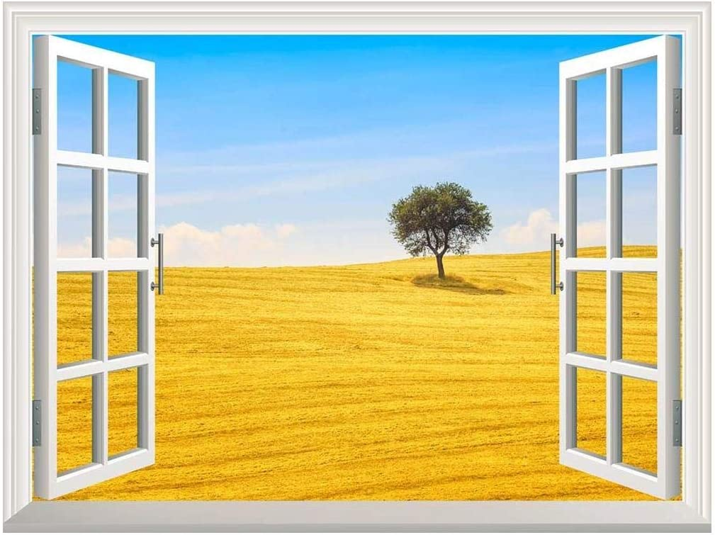 Removable Wall Sticker/Wall Mural - Tuscany Country Landscape, Olive Tree and Green Fields Montalcino, Italy | Creative Window View Home Decor/Wall Decor - 36
