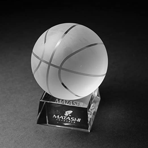 Crystal Paperweight with Etched Baseball Ornament and Trapezoid Base by Matashi