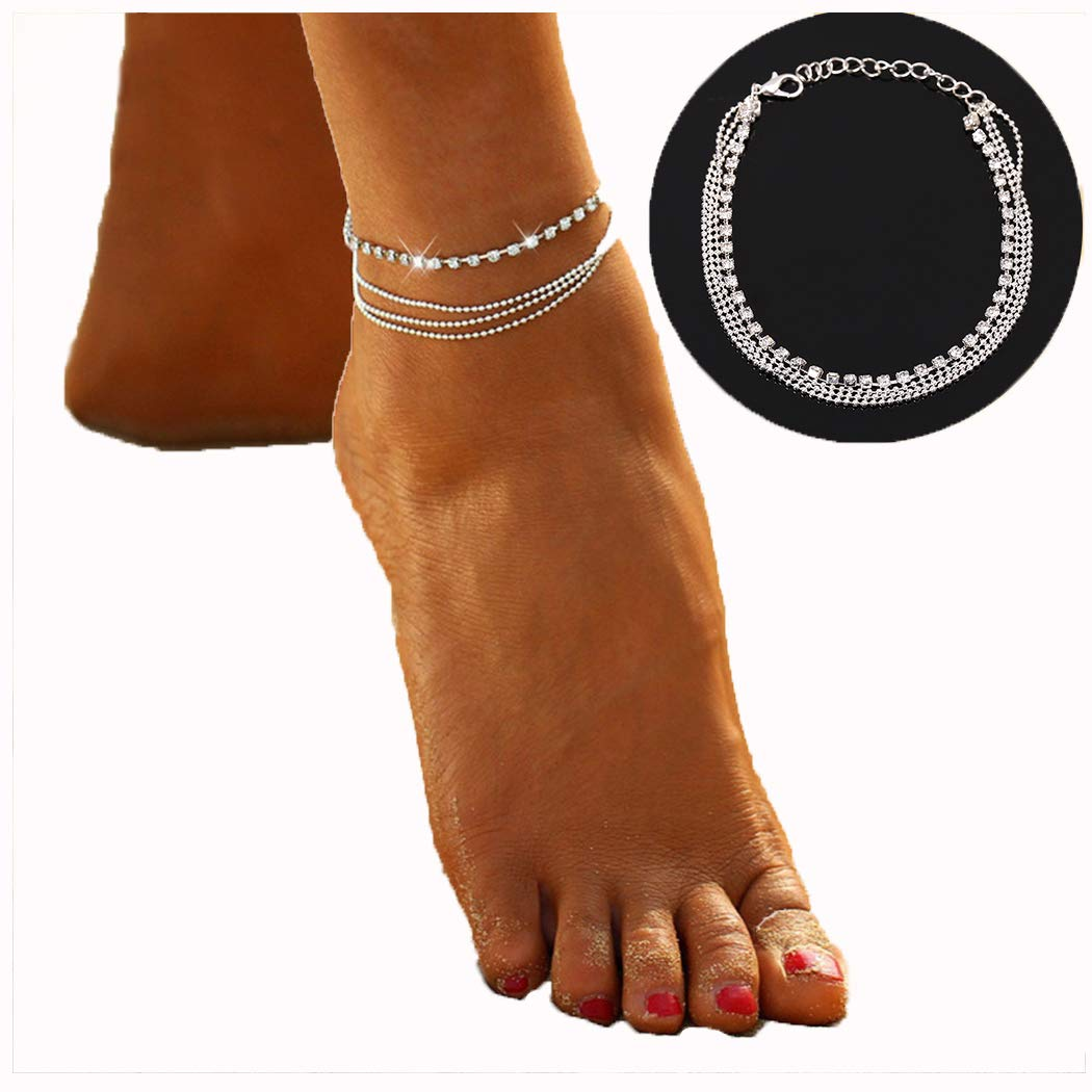 Women Rhinestone Anklet Multilayer Adjustable Ankle Bracelets